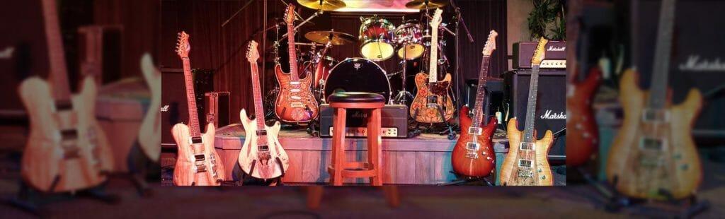 A line up of RH Custom Guitars